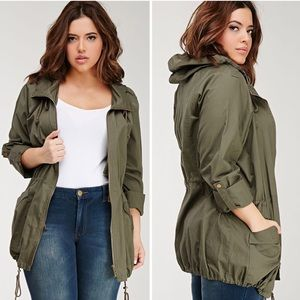 Forever 21 Green Plus Size Hooded Utility Jacket